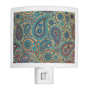 Retro Turquoise Rainbow Paisley motif Night Light