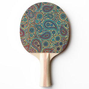 Retro Turquoise Rainbow Paisley motif Ping-Pong Paddle