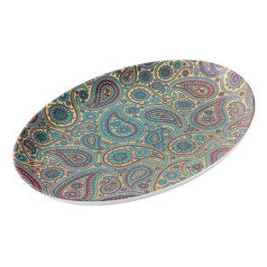 Retro Turquoise Rainbow Paisley motif Porcelain Serving Platter
