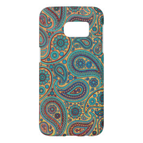 Retro Turquoise Rainbow Paisley motif Samsung Galaxy S7 Case