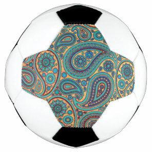 Retro Turquoise Rainbow Paisley motif Soccer Ball