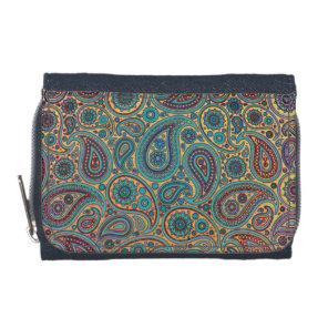 Retro Turquoise Rainbow Paisley motif Wallet