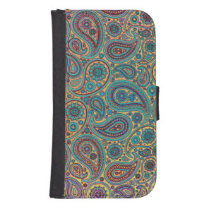 Retro Turquoise Rainbow Paisley motif Wallet Phone Case For Samsung Galaxy S4