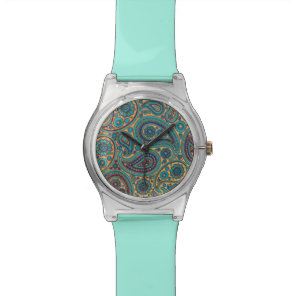 Retro Turquoise Rainbow Paisley motif Watch