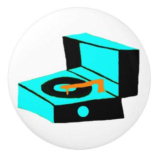 Retro Turquoise Record Player Ceramic Pull