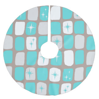 Retro Turquoise Starbursts Christmas Tree Skirt