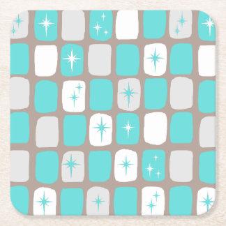 Retro Turquoise Starbursts Hard Paper Coasters