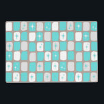 """Retro Turquoise Starbursts Laminate Placemat<br><div class=""""desc"""">This Retro Turquoise and White Starbursts Laminate Placemat is so adorably space age you won't be able to contain your enthusiasm. And, why would you want to? This 1960's mid century modern inspired design features a dark heather grey background and rows of perfectly imperfect rectangles in turquoise, white, and dove...</div>"""
