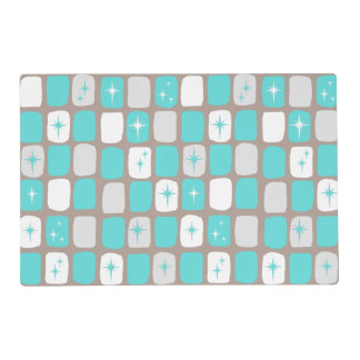 Retro Turquoise Starbursts Laminate Placemat