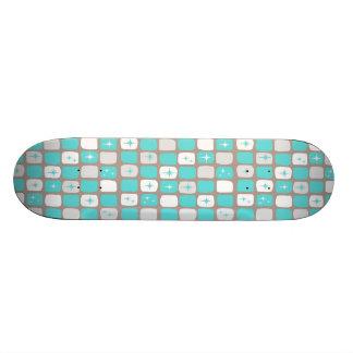 Retro Turquoise Starbursts Skateboard