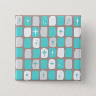 Retro Turquoise Starbursts Square Button