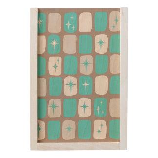 Retro Turquoise Starbursts Wooden Keepsake Box