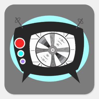 Retro TV and Test Pattern Square Sticker