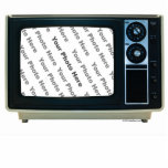 """Retro TV Custom Frame Cutout<br><div class=""""desc"""">Add your own photo to this retro TV picture frame! Comes standard as a 5"""" x 7"""" (approximately) standup photo sculpture, but you can easily use the item options to make it bigger or smaller, or change it to a pin, a magnet, or a hanging ornament. Makes a very cool...</div>"""