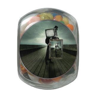 Retro tv men jelly belly candy jar