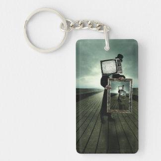 Retro tv men Double-Sided rectangular acrylic keychain