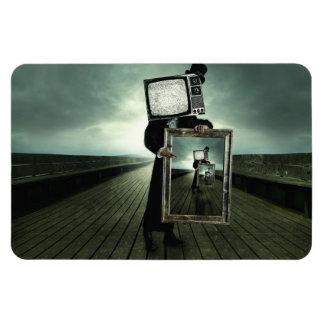 retro tv men rectangular photo magnet