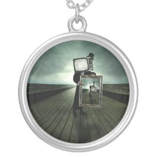 Retro tv men silver plated necklace