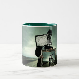 Retro tv men Two-Tone coffee mug