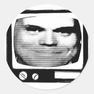 retro tv propaganda classic round sticker