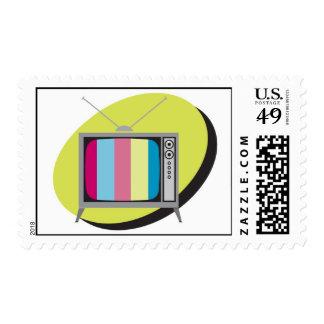 retro tv television stamp