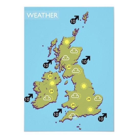 Tv Weather Map.Retro Tv Weather Map Of The British Isles Invitation Zazzle Com