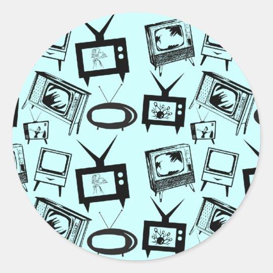 Retro TVs Classic Round Sticker