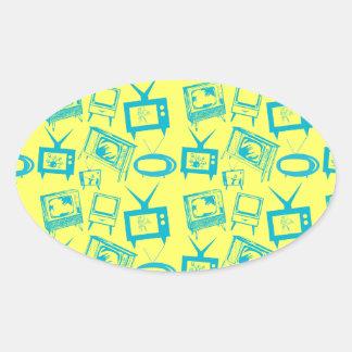 Retro TVs Oval Sticker