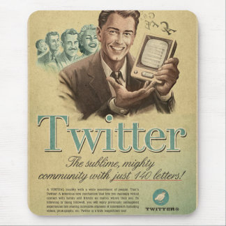 Retro Twitter Social Media Ad by Send My Love Mouse Pad