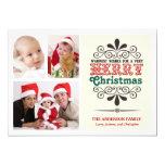 Retro Type Christmas Tri-Photo Flat Card Custom Announcement