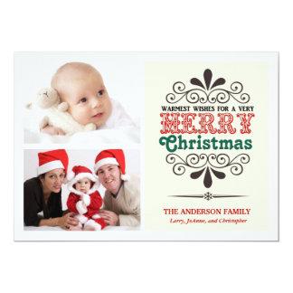 Retro Type Christmas Two-Photo Flat Card