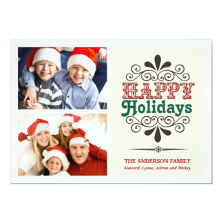 Retro Type Holiday 2-Photo Collage Flat Card
