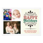 Retro Type Holiday 3-Photo Collage Flat Card