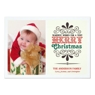Retro Type Merry Christmas Flat Photo Card