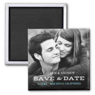 Retro Type Photo Personalized Save the Date Magnet