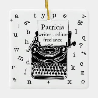 Retro Typewriter Holiday Cheer Ceramic Ornament