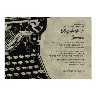 Retro Typewriter Keys Wedding Invitations Personalized Invite