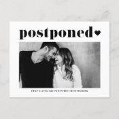 Retro Typography Black Photo Wedding Postponement Announcement Postcard