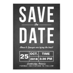 Retro Typography Chalk Save the Date Announcement