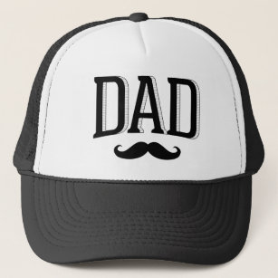 b7a22545 Retro Typography Dad Mustache Father's Day Trucker Hat