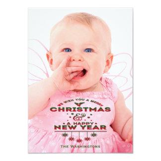 Retro Typography Holiday Photo Card