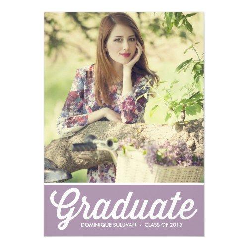 """Retro Typography Lavender Graduation Invitation 5"""" X 7"""" Invitation Card"""