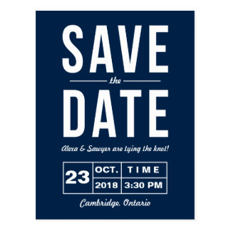 Retro Typography Navy Save the Date Postcard