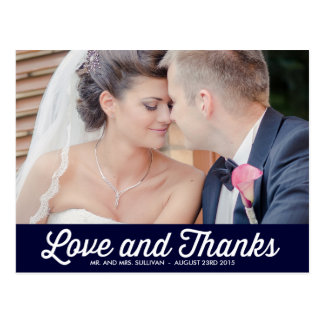 RETRO TYPOGRAPHY | NAVY WEDDING THANK YOU POSTCARD