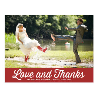 RETRO TYPOGRAPHY | RED WEDDING THANK YOU POSTCARD