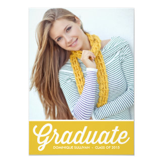 "Retro Typography | Yellow Graduation Invitation 5"" X 7"" Invitation Card"