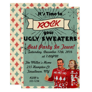 Retro Ugly Sweater Christmas Party Invitation at Zazzle