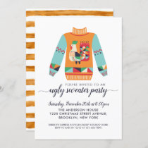 Retro Ugly Sweater Rustic Chicken Christmas Party Invitation