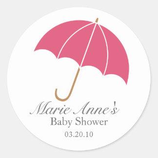 retro umbrella BABY SHOWER party favor label Sticker