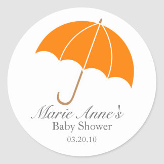 retro umbrella BABY SHOWER party favor label Round Stickers